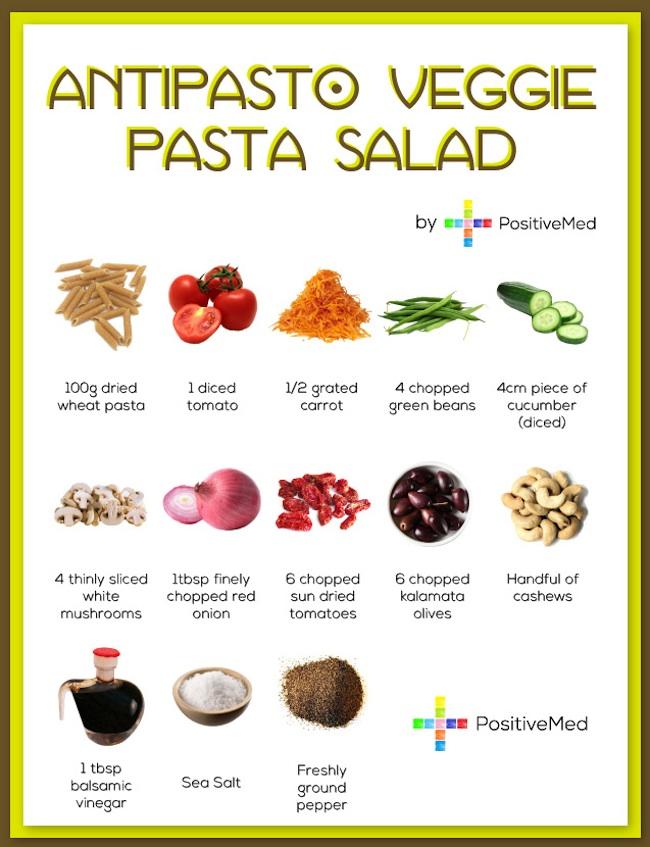 Antipasto veggie pasta salad