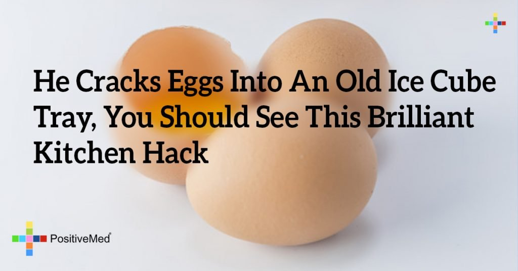 He Cracks Eggs Into An Old Ice Cube Tray, You Should See This Brilliant Kitchen Hack