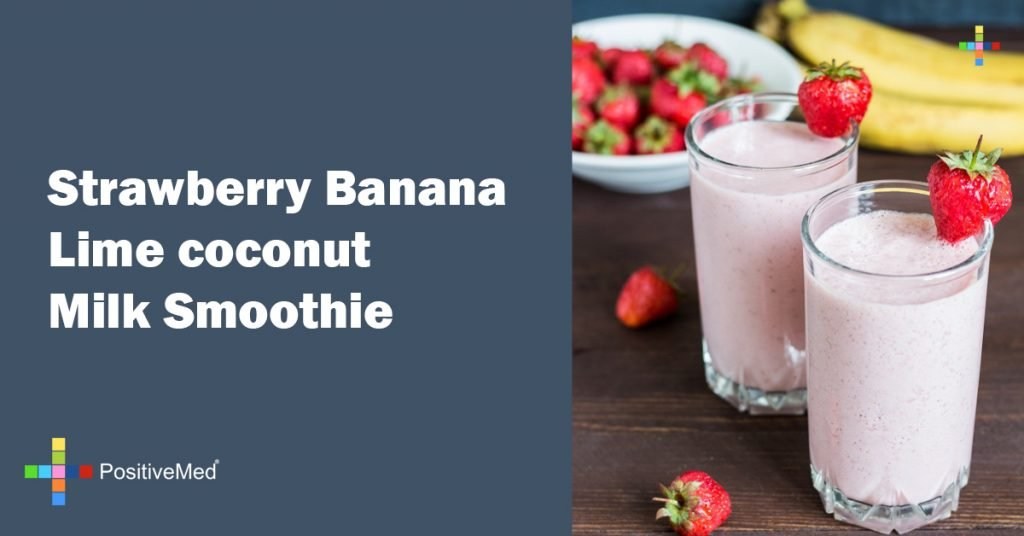 Strawberry Banana Lime coconut Milk Smoothie