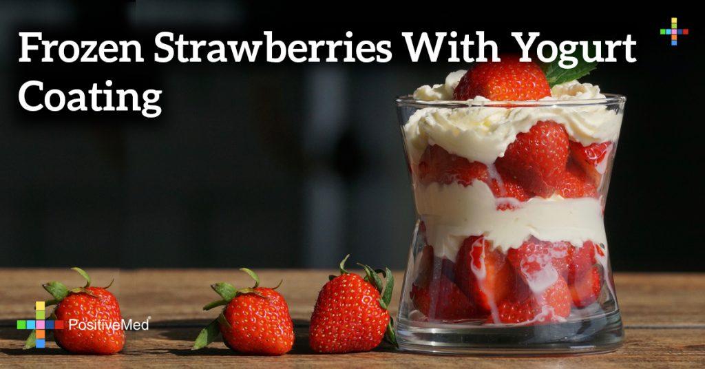 Frozen strawberries with yogurt coating